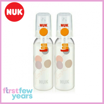 NUK Classic Standard Neck Bottle With Silicone Teat S1 M (0-6M) 240ml/8oz Twin Pack - White