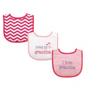 "Luvable Friends 3Pc Baby Bibs ""I Love Grandma"""