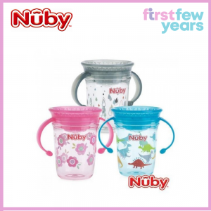 Nuby 360 Wonder Cup 1pk 240ml Twin Handle Tritan Printed with PP Cover (6M+)