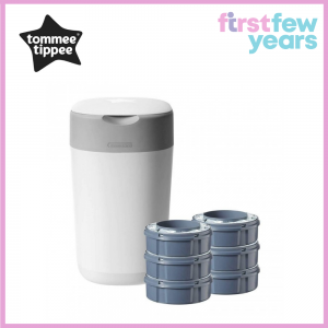 Tommee Tippee Twist & Click Sangenic Advanced Diaper Disposal Bin with 6 Cassettes (White)