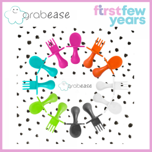 GRABEASE First Self Feed Baby Utensils with a Togo Pouch - Anti-Choke