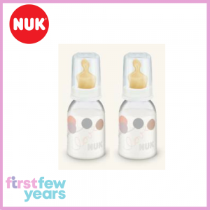 NUK Classic Standard Neck Bottle With Latex Teat S1 M (0-6M) 110ml/3.7oz Twin Pack - White