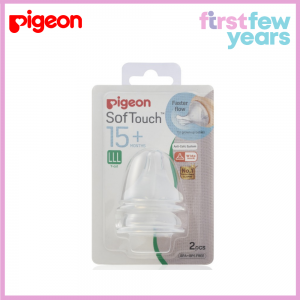 Pigeon SofTouch Peristaltic PLUS Wide Neck Nipple 2pcs/pack (LLL-Y cut, 15M+)