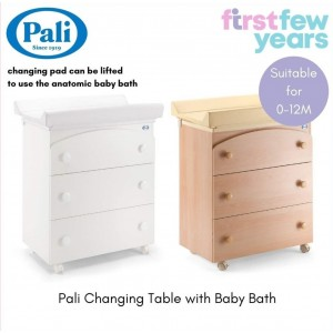 Pali Tris Changing Station with Baby Bath & 3 Drawers