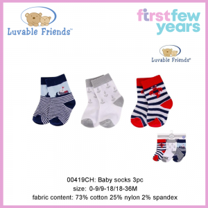 Luvable Friends Baby Socks with Non Skid(0-9 Months)