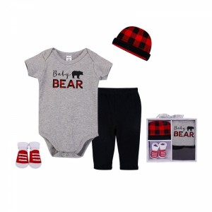 LITTLE TREASURE NEWBORN BABY 4-PIECE LAYETTE GIFT SET - BABY BEAR (0 - 6 MONTHS)