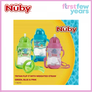 Nuby 1pk 400ml Tritan Flip It with 3D Vinyl Wrap with Weighted Straw (12M+)