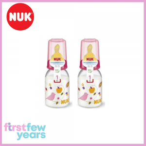 NUK Classic Standard Neck Bottle With Latex Teat S1 M (0-6M) 110ml/3.7oz Twin Pack - Pink