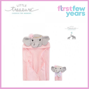 Little Treasure: Animal Hooded Towel - Pink Elephant (71010)