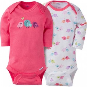 GERBER GIRLS 2-PACK ONESIES LONG SLEEVE BODYSUITS - LITTLE BIRD
