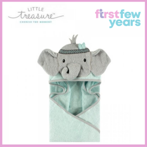 Little Treasure: Animal Hooded Towel - Green Elephant (71008)
