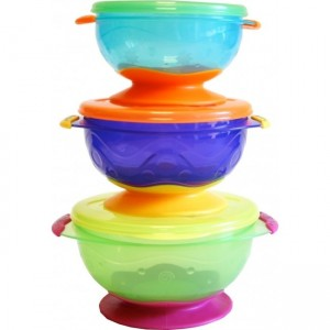Nuby 3pk Stackable Suction Bowl with Lids