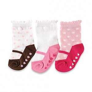 Luvable Friends 3 Pair Non-Skid Socks(6-12M)