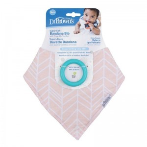 Dr. Brown's Super Soft Bandana Bibs with One Snap-On Teether, 3m+