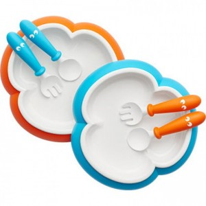 BabyBjorn Baby Plate, Spoon and Fork (2 sets) - Orange/Turquoise