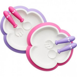 BabyBjorn Baby Plate, Spoon And Fork (2 Sets) - Pink/Purple