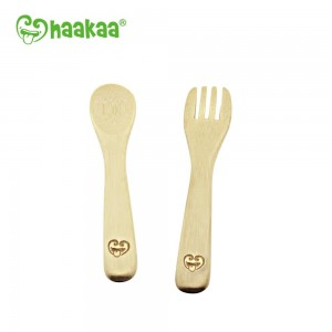 Haakaa Bamboo Spoon & Fork Set (Pack Of 2)