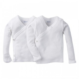 Gerber 2-Pack White Side Snap Long Sleeve Shirt With Mitten Cuffs