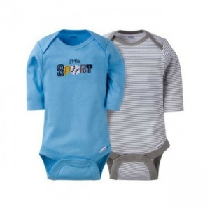 GERBER BOYS 2-PACK ONESIES LONG SLEEVE BODYSUITS - SPORTS