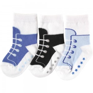 Luvable Friends 3 Pair Non-Skid Socks(0-6M)