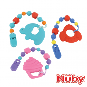 Nuby Silicone Teether & Pacifier Holder Combo Pack