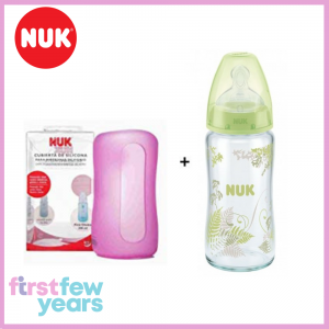 NUK Glass Bottle 240ml Silicone Teat S1(0-6M) -M With Silicone Cover