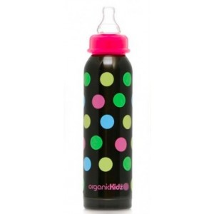 ORGANICKIDZ 9oz Narrow Neck Multicoloured Dots Stainless Steel Baby Bottle