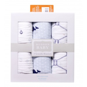 Hudson Baby 3 Muslin Swaddle Blankets(Light Blue)