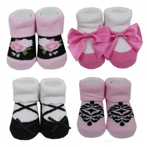 Hudson Baby 4Pc Girl Sock Gift Set