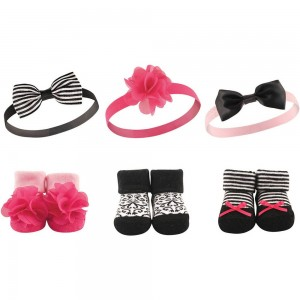 Hudson Baby Baby Girl Headbands & Socks Set(Fuchsia)