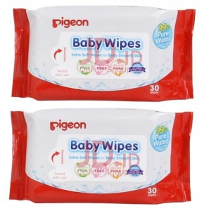 PIGEON 99% PURE WATER BABY WIPES 30S X 2 PACKS