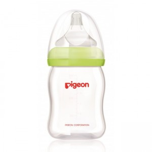 PIGEON PERISTALTIC PLUS WIDE NECK GLASS FEEDING BOTTLE GREEN (JAPAN) 160ML
